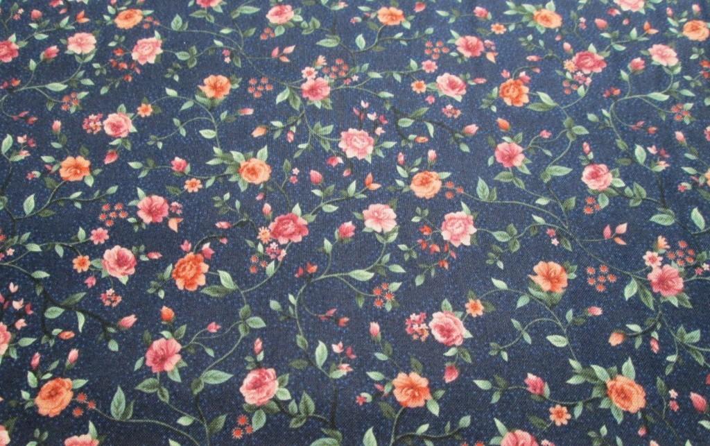 Blue w/ pink flowers