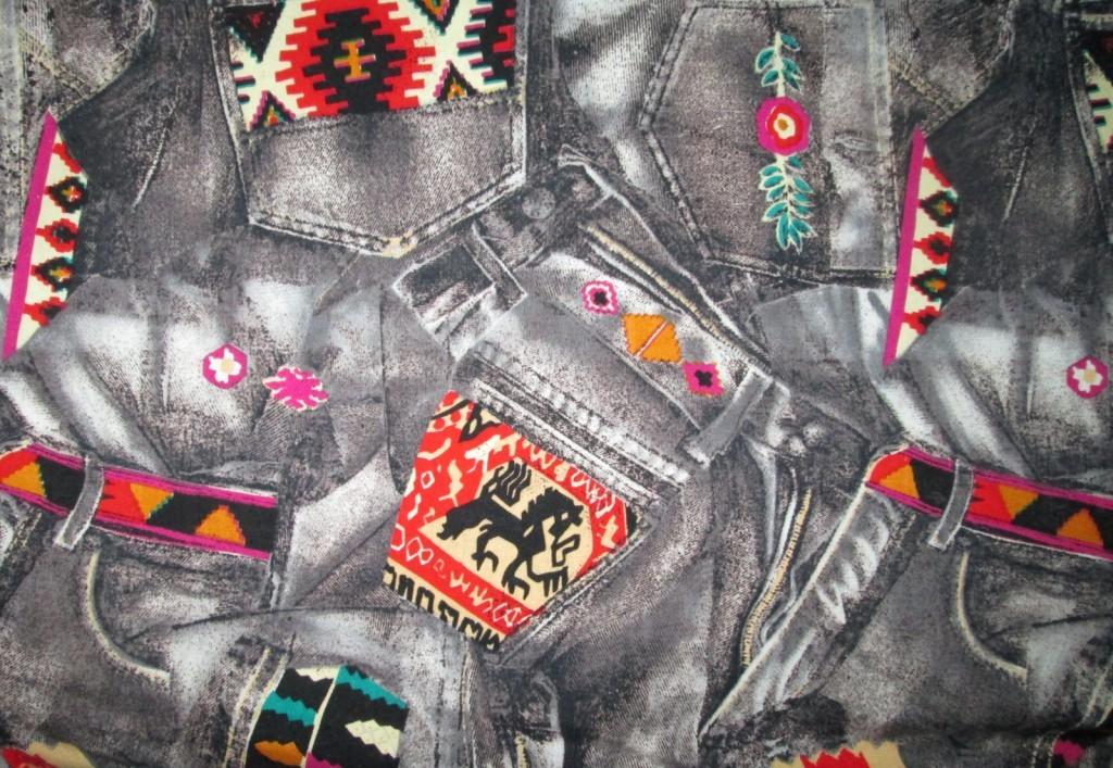 Black and gray jean pocket print