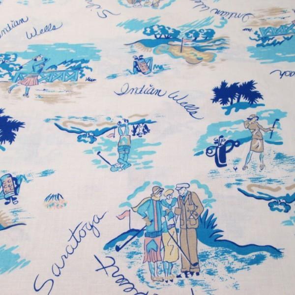 golf theme cotton fabric