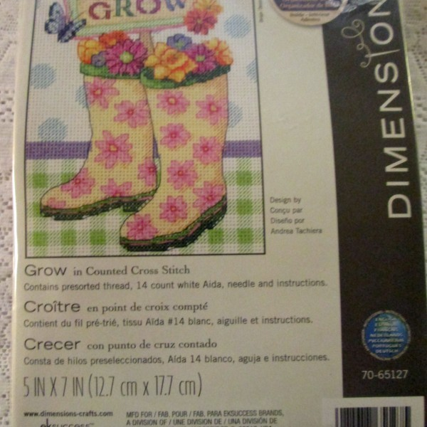 cross stitch kit boots flowers