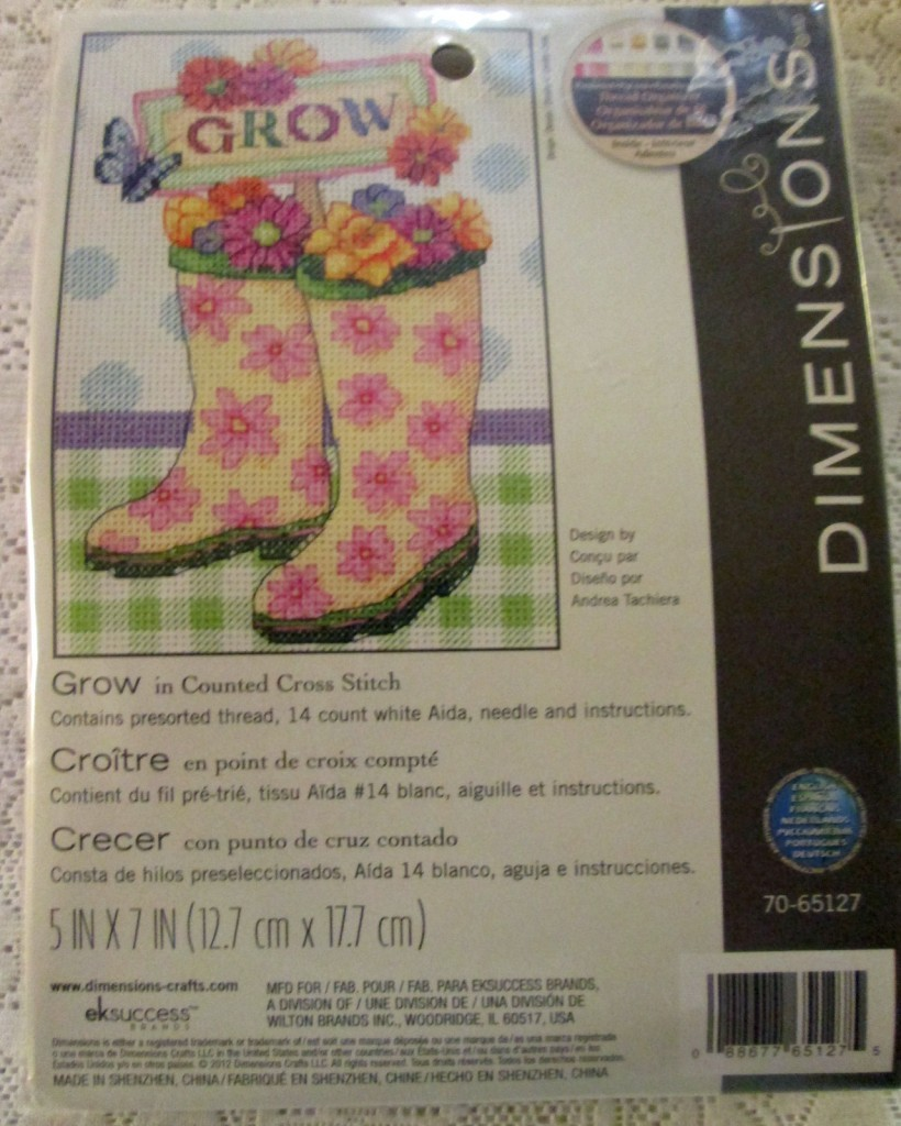 cross stitch kit boots flowers