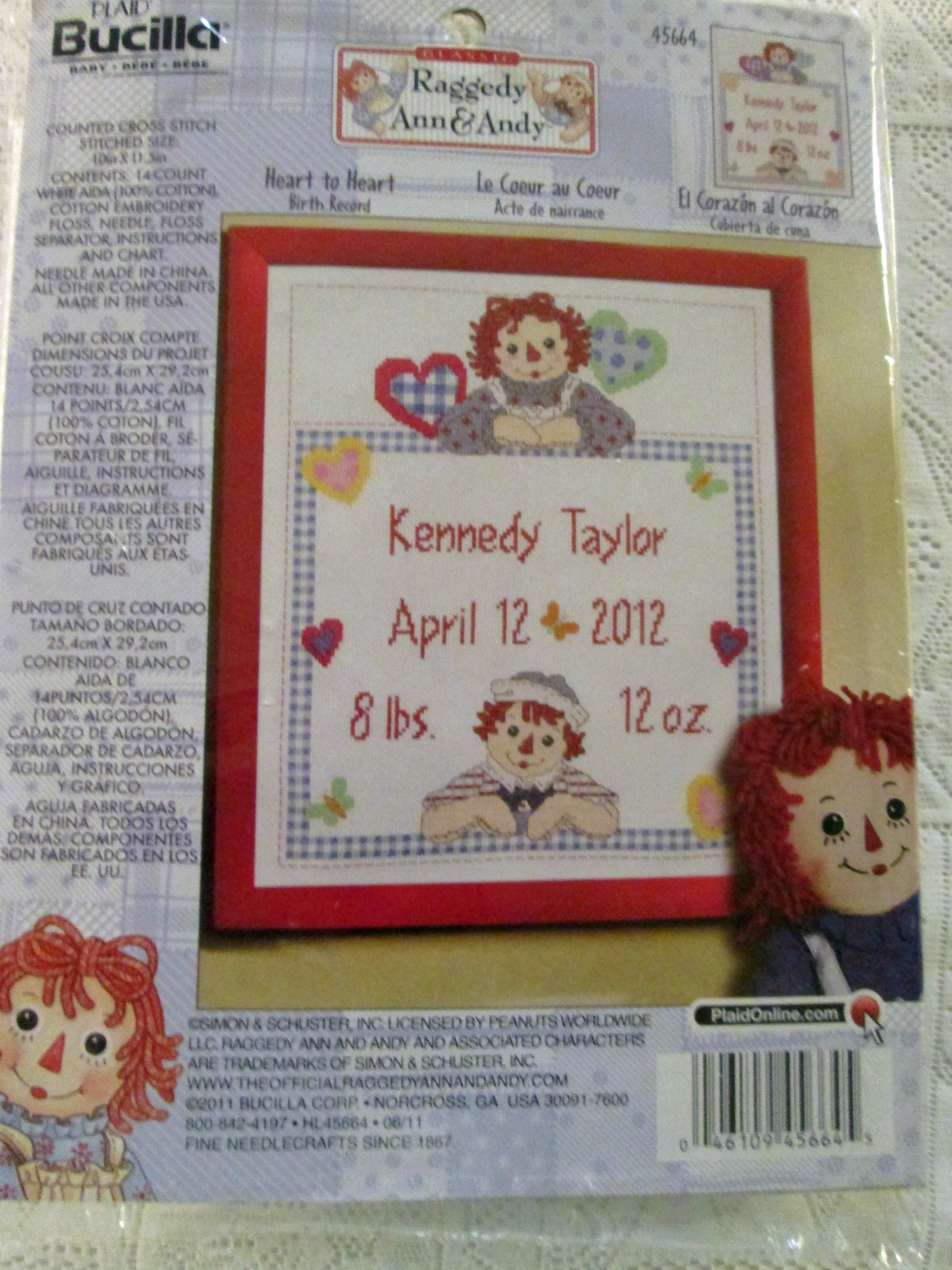 bucilla raggedy ann and andy heart to heart 45664 counted cross