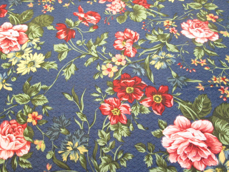 Fabri-Quilt Blue with Pink Flowers