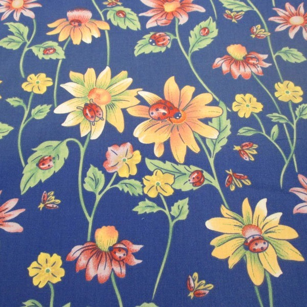 Blue with Flowers and Ladybugs Poly Cotton Fabric