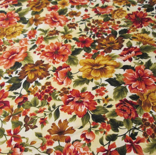 Fabri-Quilt Gold Flowers Cotton Quilting Fabric