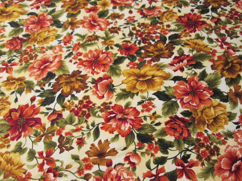 Fabri Quilt Gold Flowers Virginia Robertson Vr291 Cotton