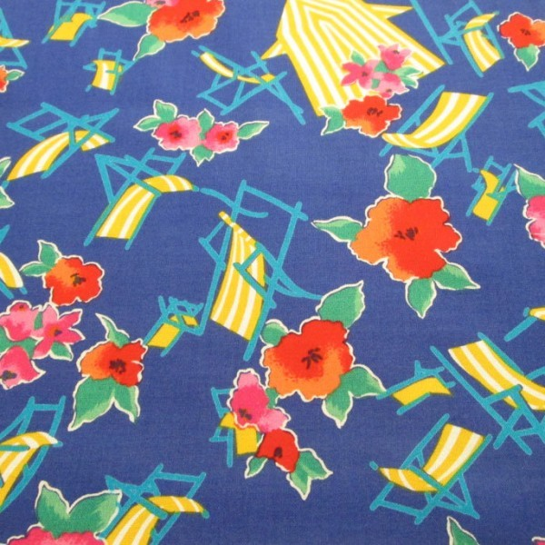 Blue with red flowers and yellow beach chairs