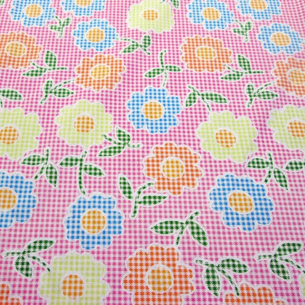 Pink Checks with Flowers Poly Cotton Fabric