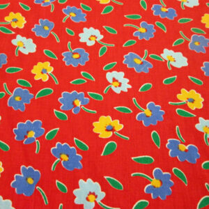Red with Colorful Flowers Poly Cotton Fabric